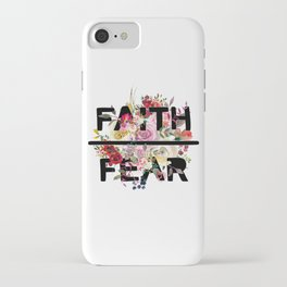 Christian Quote - Faith Over Fear - Cute Floral Watercolor Typography iPhone Case