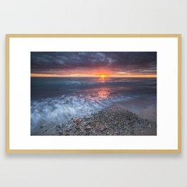 Fire in the sky.     Lake Huron Framed Art Print