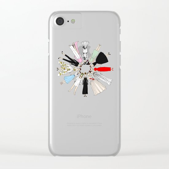 Audrey Hepburn Fashion (Scattered) Clear iPhone Case