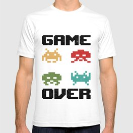 Retro Video Game Over Invaders Gamer Vintage 80s Gaming Gift T-shirt