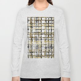 Black and Gold Loose Plaid Long Sleeve T-shirt