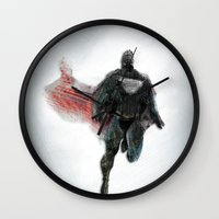 man of steel Wall Clocks featuring The Man of Steel  by The Mimema