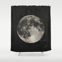 science Shower Curtains featuring The Moon  [Sans Type] by Heather Landis