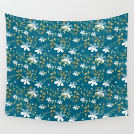 White flowers on a blue background . Wall Tapestry