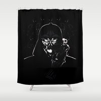 daenerys Shower Curtains featuring Cyborg Face by kattie flynn
