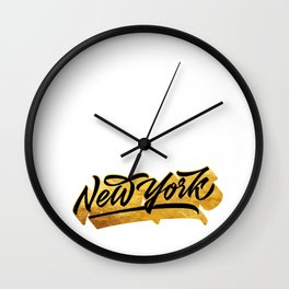 New York Black and Gold awesome lettering Wall Clock