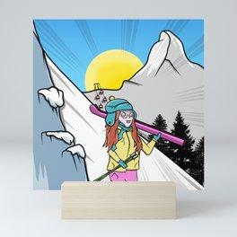 Skiing Switzerland Cartoon Mini Art Print