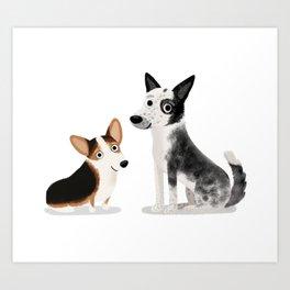 "Custom Cute Dog Art ""A + L"" Art Print"