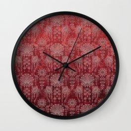 Victorian Potpourri - Faded Splendor Damask - RUBY Wall Clock