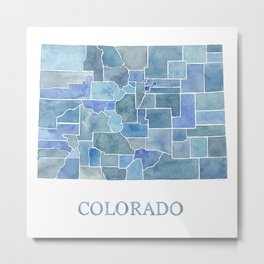Colorado Counties BluePrint Watercolor Map Metal Print