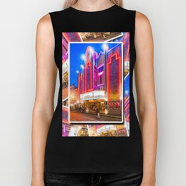Neon Lights Of An Old Art Deco Theater In Mexico Biker Tank