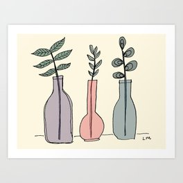 Bottled Plants Trio Art Print