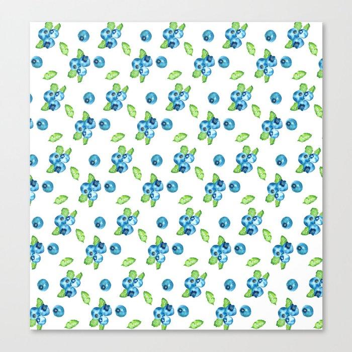 Blueberry Watercolour Pattern Canvas Print