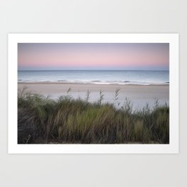 Serenity beach. Sunrise at the dunes. Art Print