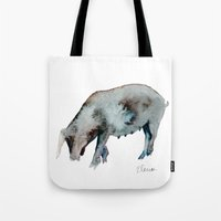 pig Tote Bags featuring Pig by Elena Sandovici