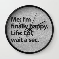 2pac Wall Clocks featuring I'm finally happy by Text Guy