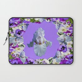 SPRING LILAC PURPLE PANSY FLOWERS & WHITE IRIS PATTERN Laptop Sleeve