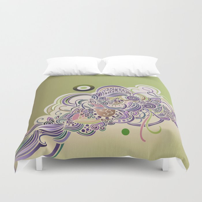 Detailed diagonal tangle Duvet Cover