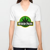 jurassic park V-neck T-shirts featuring Weed Park Jurassic style  by Spyck