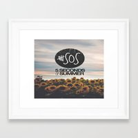 5 seconds of summer Framed Art Prints featuring 5 seconds of summer sunflowers by Rose