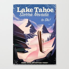 Lake Tahoe vintage ski travel poster Canvas Print