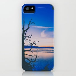 dead tree silhouette over Lake Tahoe at sunset iPhone Case