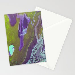 Fluid Art Acrylic Painting, Pour 32, Green, Purple, & Turquoise Blended Color Stationery Cards