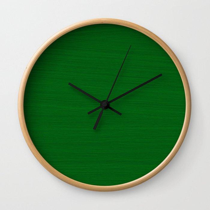 Emerald Green Brush Texture - Solid Color Wall Clock