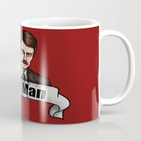 parks and recreation Mugs featuring Ron Swanson - Be a Man - Parks and Recreation by Hungry Designs