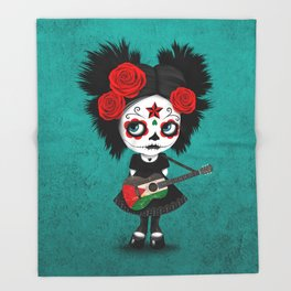 Day of the Dead Girl Playing Palestinian Flag Guitar Throw Blanket