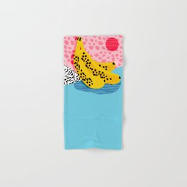 What It Is - memphis throwback banana fruit retro minimal pattern neon bright 1980s 80s style art Hand & Bath Towel