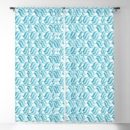 Turquoise Blue Ombré Abstract Wave Pattern Blackout Curtain