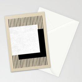 Square B&W Stripes Stationery Cards