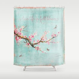 Live life in full bloom - Romantic Spring Cherry Blossom butterfly Watercolor illustration on teal Shower Curtain