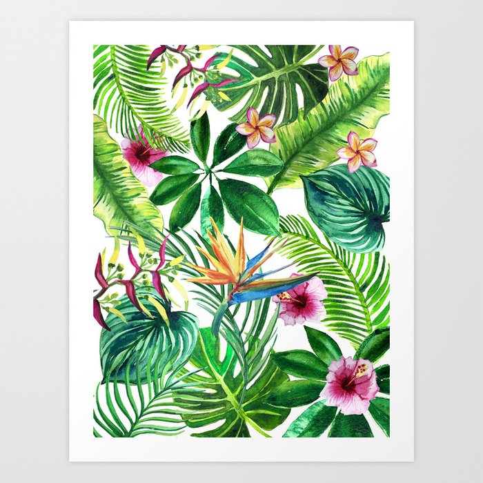 Background Of Tropical Leaves And Palm Flowers Watercolor Illustration Art Print By Liliyakovalenko Society6 Over 173,135 tropical leaves pictures to choose from, with no signup needed. background of tropical leaves and palm flowers watercolor illustration art print by liliyakovalenko