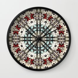 Vintage Distressed Mandala Design with hearts Wall Clock