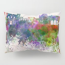 Palermo skyline in watercolor background Pillow Sham