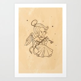 Nicely and happy smiling cute baby Christmas angel making music playing violin. Ink on old paper Art Print