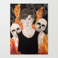 stephen king Canvas Prints featuring Stephen by Alice Rachel