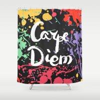 carpe diem Shower Curtains featuring Carpe diem by Julia Badeeva