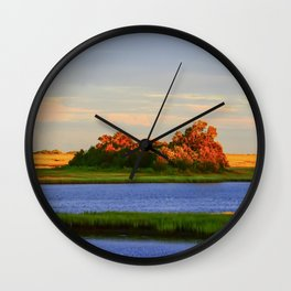Orange Fall Intercoastal Tree Tops Painting Wall Clock