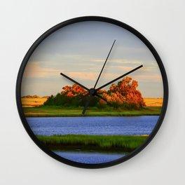 Orange Fall Intercoastal Tree Tops Painting Wall Clock