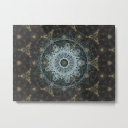 Golden Mandala Web Metal Print