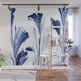 Painted Flowers In Blue Wall Mural