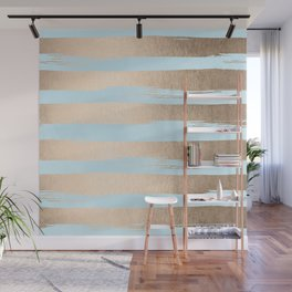 Paint Stripes Gold Tropical Ocean Sea Turquoise Wall Mural