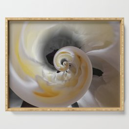 silken whirl abstract 3d digital painting Serving Tray