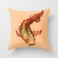 koi Throw Pillows featuring Koi by S.G. DeCarlo