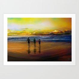 Siblings at Shore Art Print