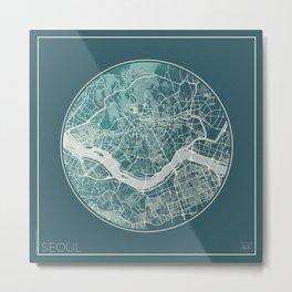 Seoul Map Planet Metal Print