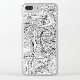 Prague White Map Clear iPhone Case